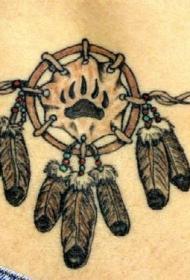腰部彩色印度风羽毛纹身图案
