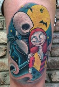 腿部彩色怪物夫妇纹身图案