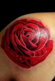 肩部彩色简单普通大玫瑰纹身图案