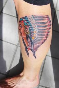 腿部彩色印度酋长羽毛纹身图片