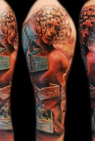 手臂彩色难以置信的怪物纹身图案