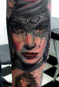 手臂彩色肖像妇女面具纹身图案