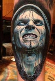 腿部彩色吸血鬼英雄肖像纹身图片