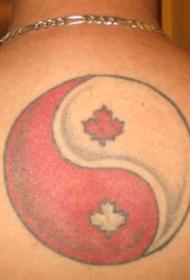 肩部红白色的阴阳八卦纹身图案