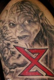 肩部棕色魔戒咕噜纹身图片