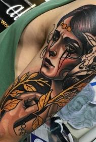 新风格的带植物的妇女的彩色肩部纹身图案