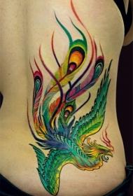 女性腰侧彩色凤凰纹身图案