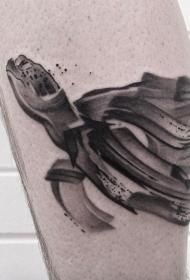 腿部灰色水墨游泳龟纹身图案