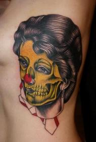 腰侧彩色复古风格五彩僵尸女人纹身图案