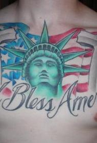胸部彩色上帝保佑美国超级爱国纹身