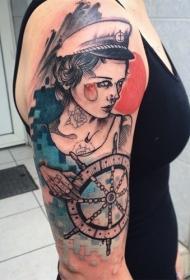 手臂素描风格的美女水手纹身图案