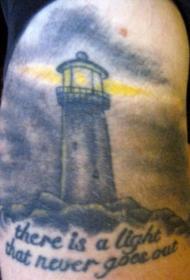 手臂黑灰航海灯塔纹身图案