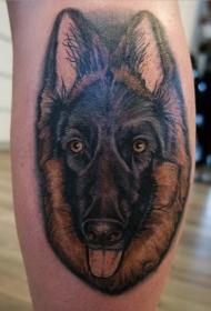 腿部德国牧羊犬肖像逼真纹身图案