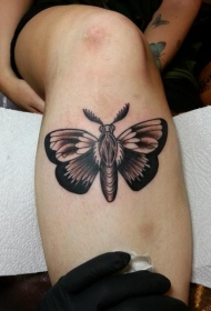 女性腿部棕色飞蛾纹身图案