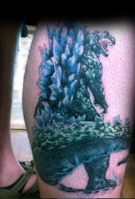 腿部彩色令人印象深刻的哥斯拉纹身