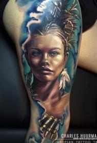 腿部现实主义风格的彩色印度女子肖像纹身