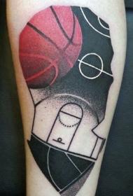 超现实主义风格的篮球主题腿部纹身图案