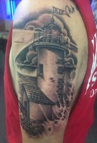 肩部黑灰色水洗式老石灯塔纹身图片