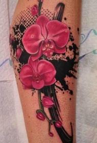 腿部奇妙的红兰花纹身图案