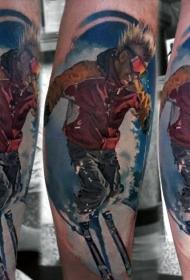 腿部现实主义风格彩色滑雪男子纹身