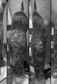 腿部灰色华丽设计的大水母纹身