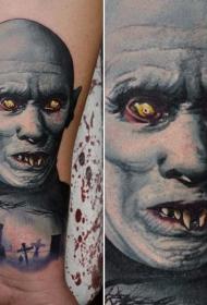 腿部恐怖电影彩色吸血鬼怪物纹身