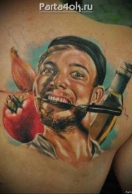 肩部彩色喜剧男性肖像纹身图案
