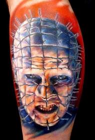 腿部彩色恐怖电影人物纹身图案