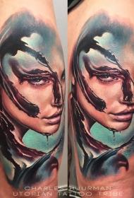 全新学校式彩色肩部血腥女子纹身图案