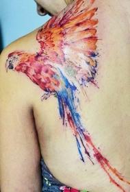 肩部彩色鲜艳的金刚鹦鹉纹身图案