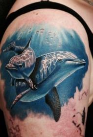 肩部逼真的照片像海豚纹身图案
