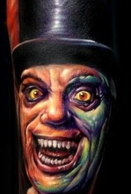 手臂彩色恐怖人物纹身图案