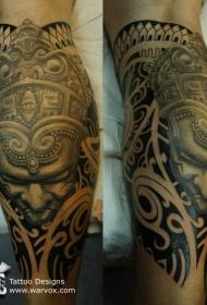腿部棕色古代雕像纹身图案
