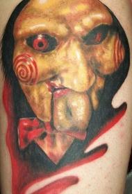 腿部逼真恐怖的电影人物纹身图案