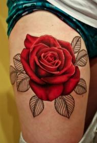 腿部非常逼真的彩色大玫瑰纹身图案