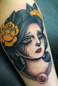腿部老派风格的彩色哭泣女人纹身图案
