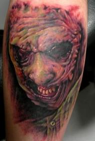 腿部阴森恐怖的恶魔纹身图片