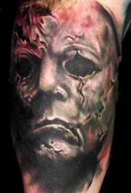 肩部彩色恐怖怪异人物纹身图片