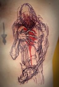 腹部素描式彩色线条怪物纹身图案