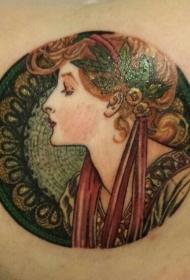 圆形老式绘画像女人的彩色纹身图案