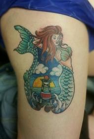 腿部老流派彩色美人鱼和灯塔纹身