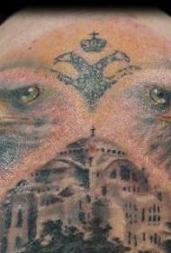 肩部彩色大古市老鹰纹身图片