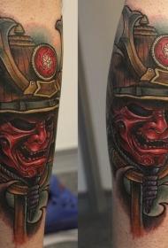 腿部新日式彩色武士面具纹身图片