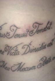 腰部黑色拉丁书法文字纹身图案