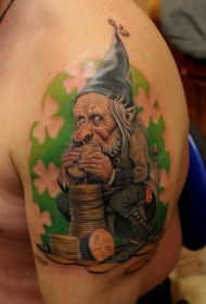 肩部彩色插画风格金币妖精纹身图案