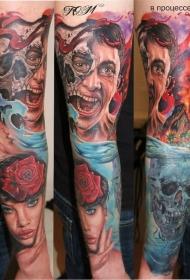 手臂彩色恐怖风格各种人类和怪物肖像纹身