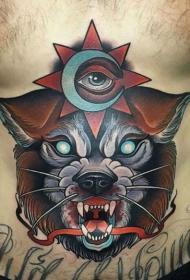 腹部彩色令人毛骨悚然的怪物纹身图案