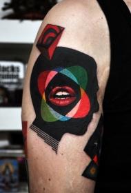 超现实主义风格的彩色肩部纹身图案