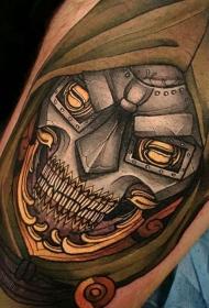 New School彩色腿部机械骷髅纹身图案