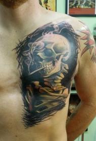 胸部彩色吸烟的骷髅头纹身图案